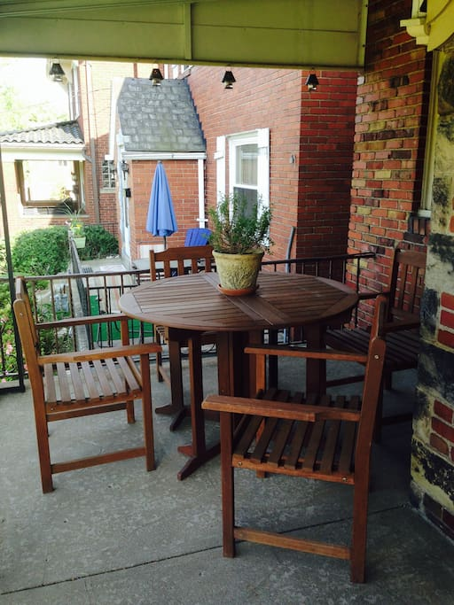 Enjoy a beverage or a meal on the front porch