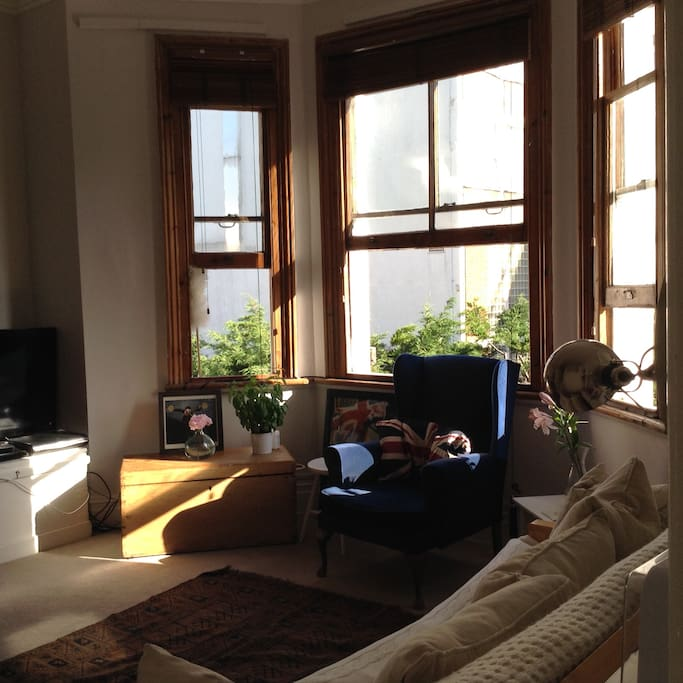Lovely big Victorian bay windows in sitting room