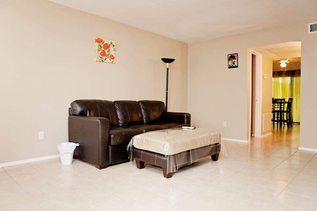 Living area with pull out sofa and ottoman.