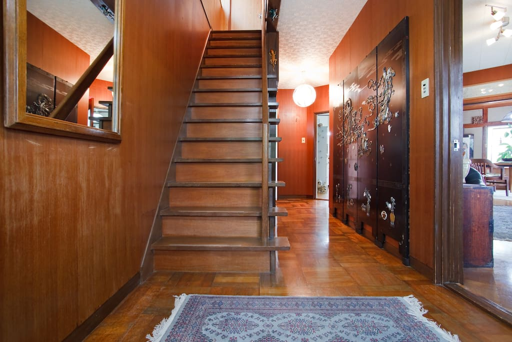 Hallway and stairs. (Stairs are steep: come down backwards!)
