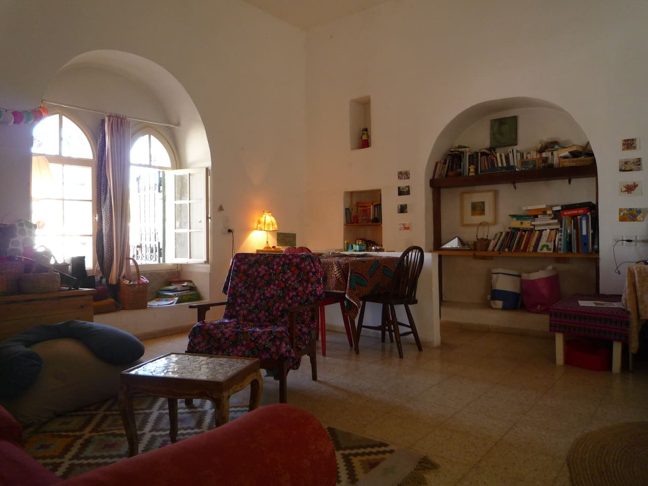 Beautiful and cosy living room... the windows open to a terrace... perfect to watch the sunset!