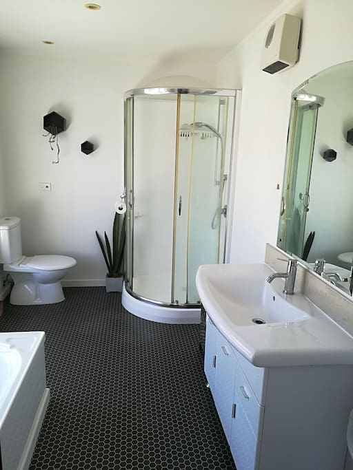 Private ensuite bathroom with shower, toilet and bath.
