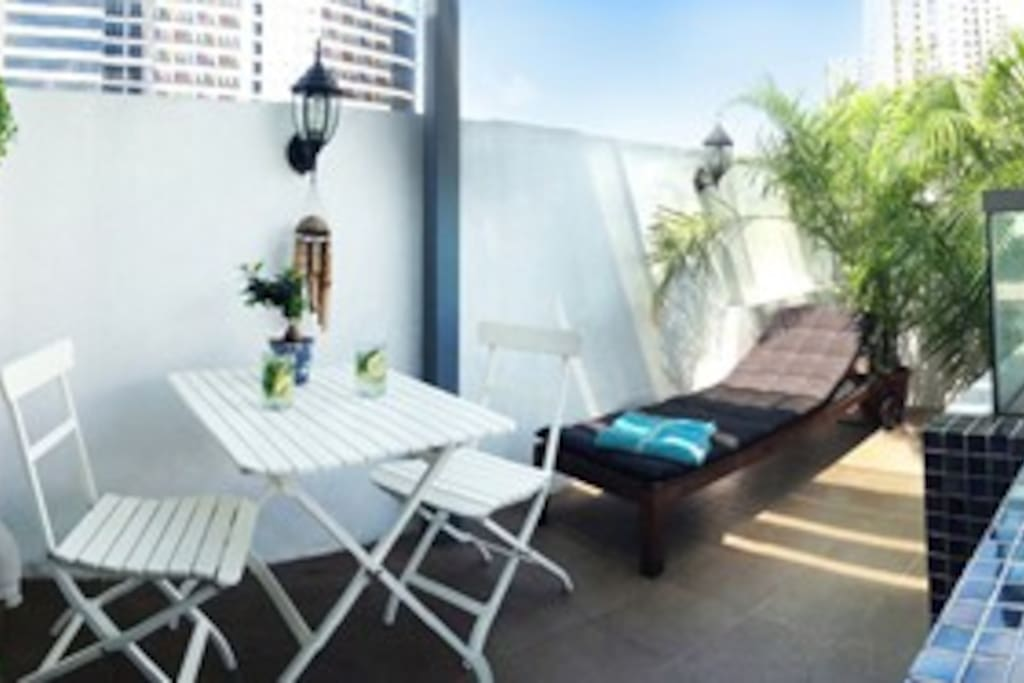 Soak up the sun on our private sunny terrace (off the master bedroom.)