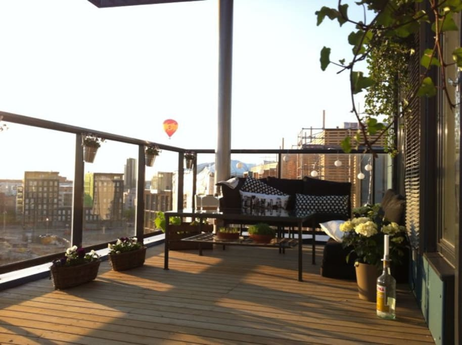 West facing roof terrace enjoys the afternoon and evening sun