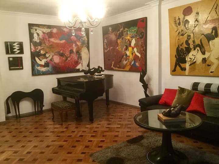 Art-space is decorated with original paintings