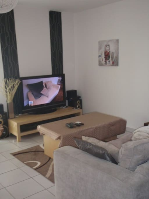 Salon avec accès à plusieurs chaines tv et wifi