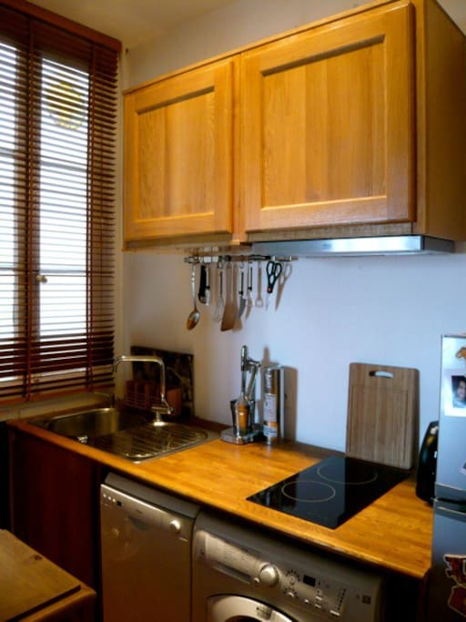 The kitchen is equipped with fridge, dish washer, washing machine & dryer & all kitchen utensils