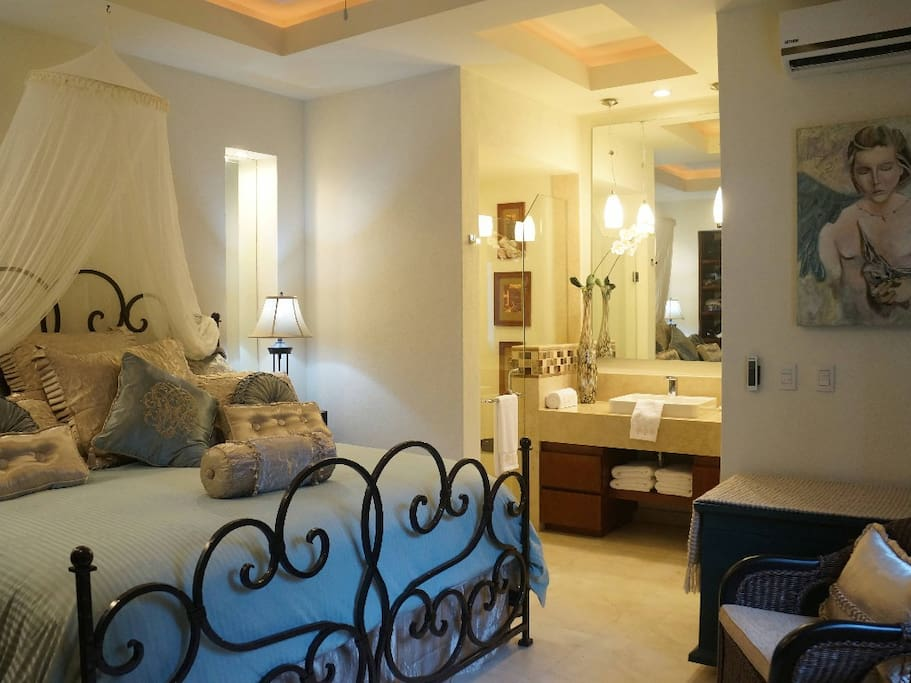 Master bedroom with in suite marble bathroom, ceiling fan, AC, window with view and light blockage curtains and privacy roll down screen, our king size bed cushion top with memory foam plush Sealy luxury comfort matress - our guests are unanimous best nig