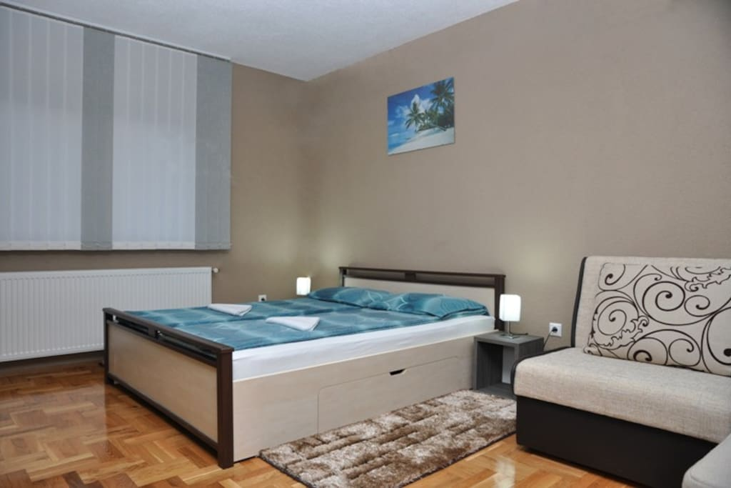 Double bed and a sofa bed futon