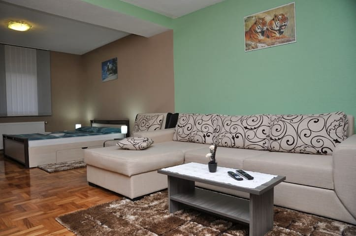 Corner lounge with sofa bed