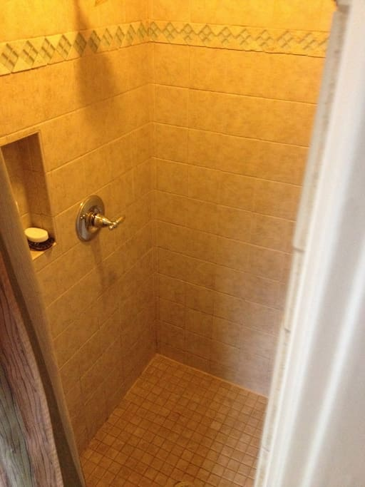 One and a half bathroom is for guest room. Shower is large enough for two full grown adults if desired. 100% tiled shower.