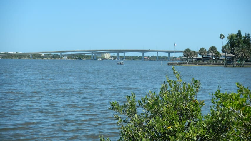 View of bridge to the beach from the park near our house