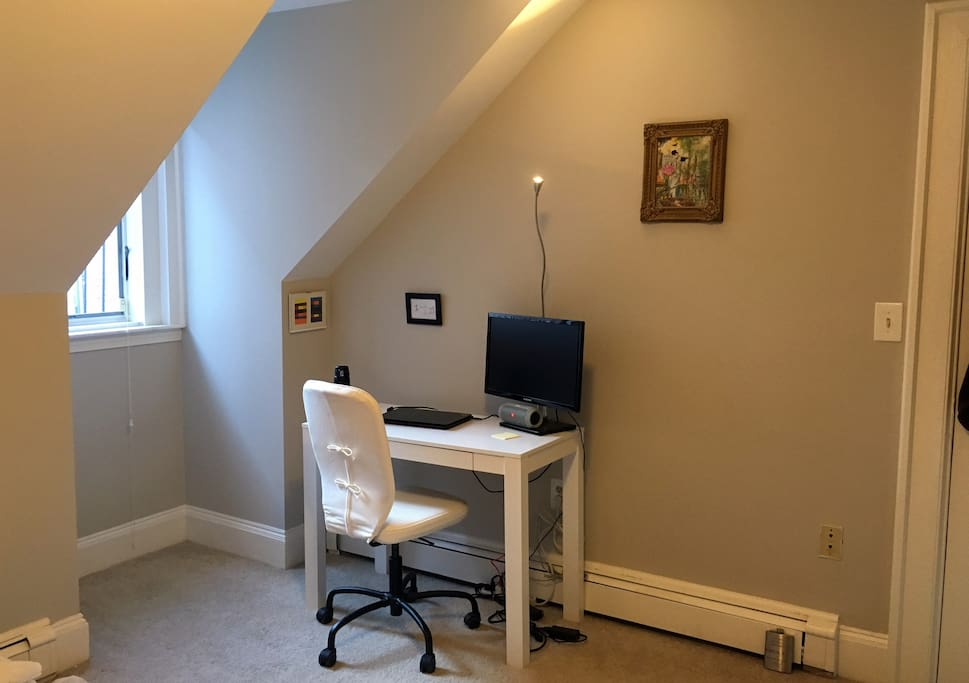 Desk with extra monitor in the bedroom