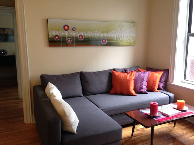 Living Space: Pull out couch and great light.