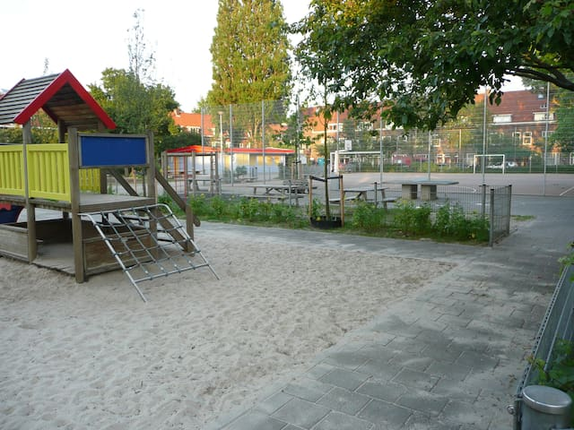 Large playground across the street.