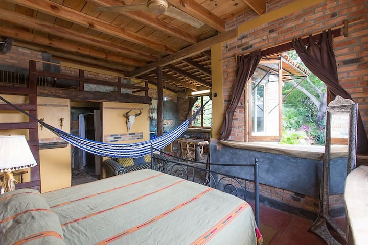 another view of the bedroom. we provide hammocks that you can set up easily
