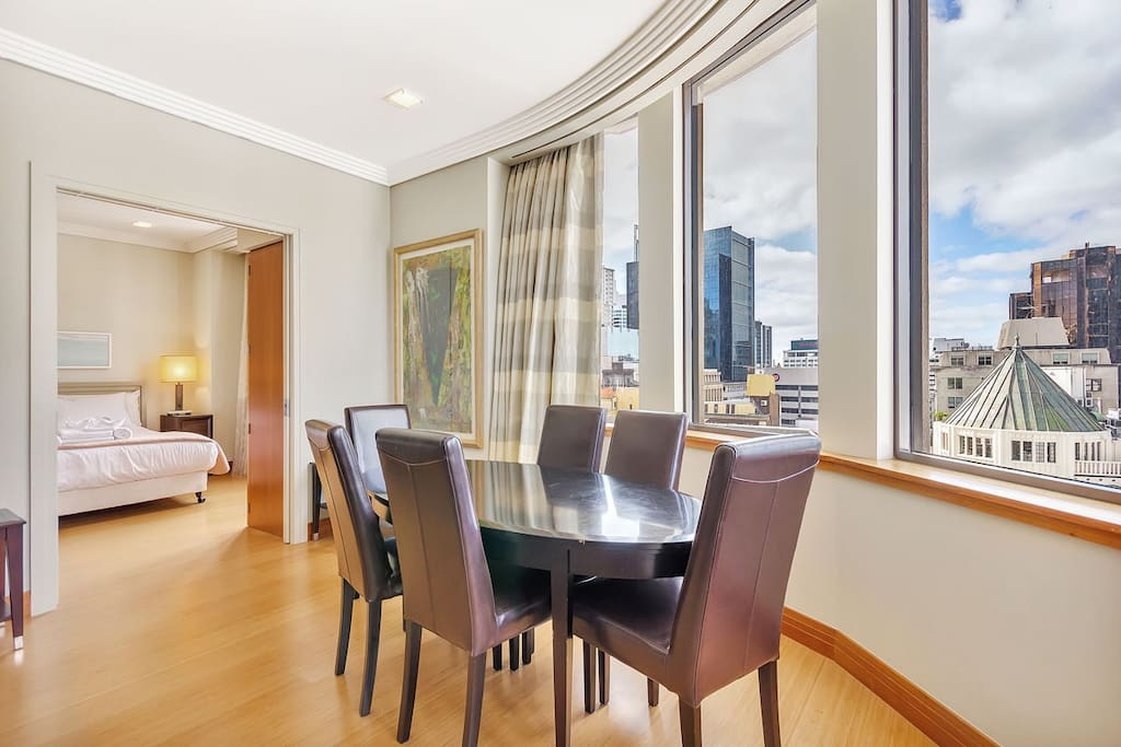 Dining area has views over the city and park