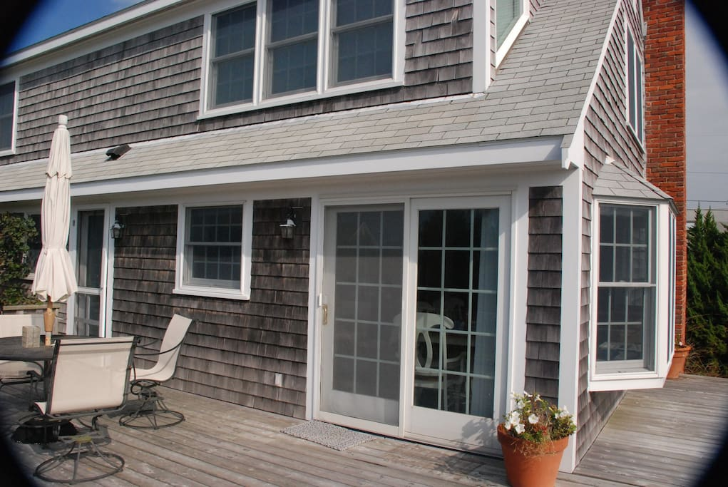 Sliding door leads out to deck