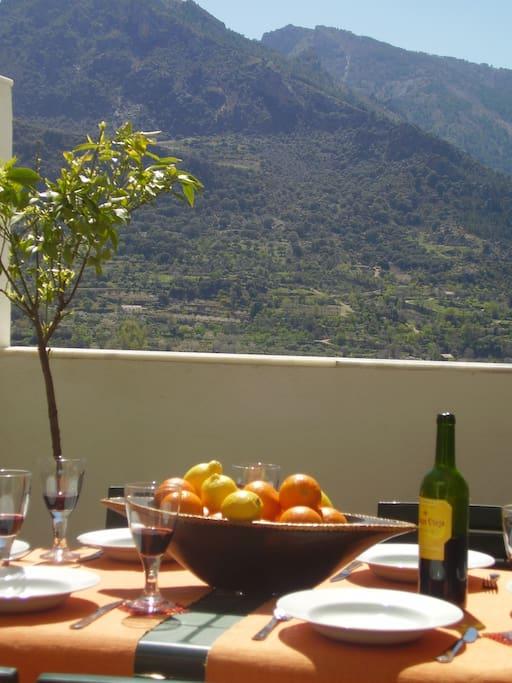 Exterior Dining on the terrace amid Granada's beautiful Sierra Nevada mountains