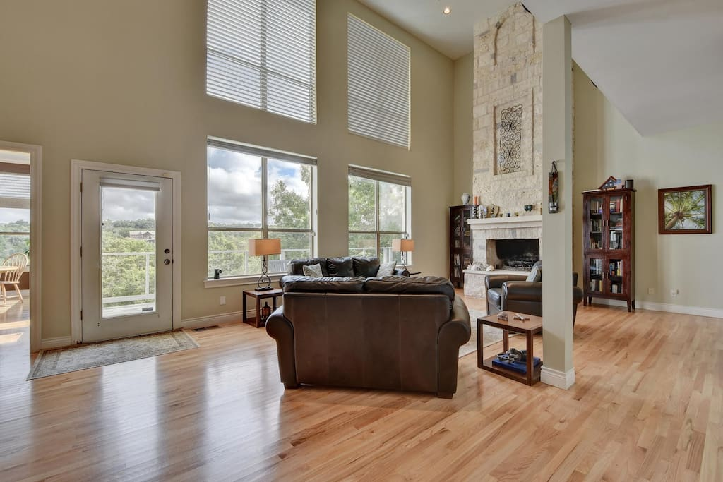 High, high ceilings and big windows wash the space in natural light.