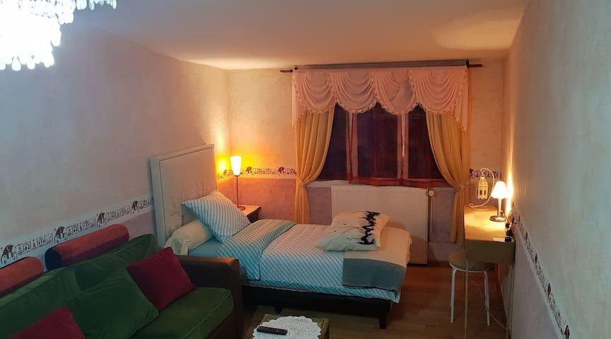 Chambre confortable et équipée dans pavillon