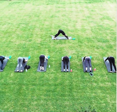 Yoga class in the garden