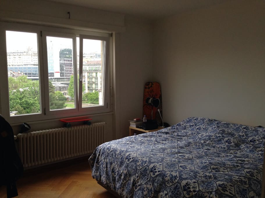 Bedroom with city view.