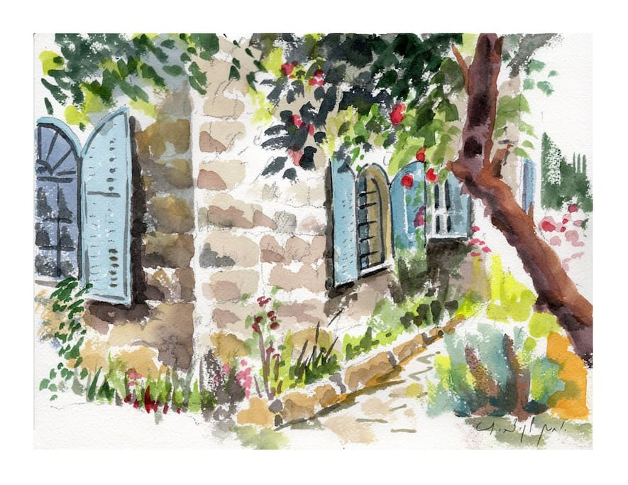 An aquarelle of the house by painter Yohanan Lakicevic