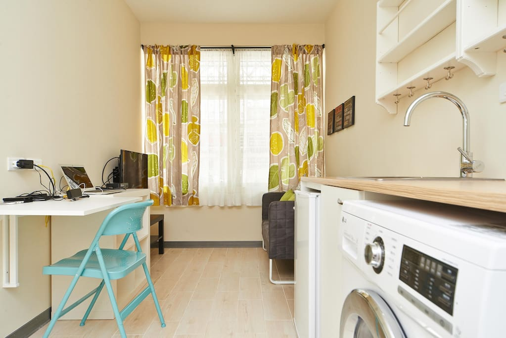 Fridge, washing &drying machine in one unit.