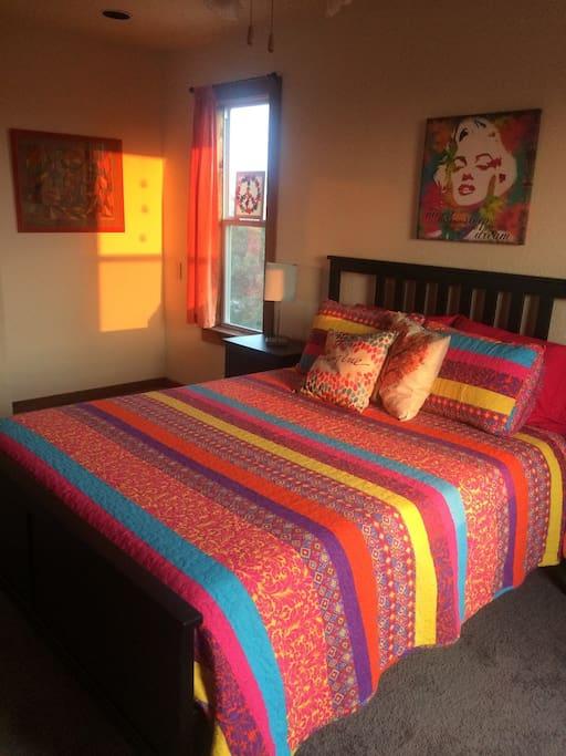Fun colorful cozy bedroom