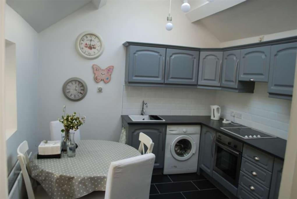 Well lit kitchen area!