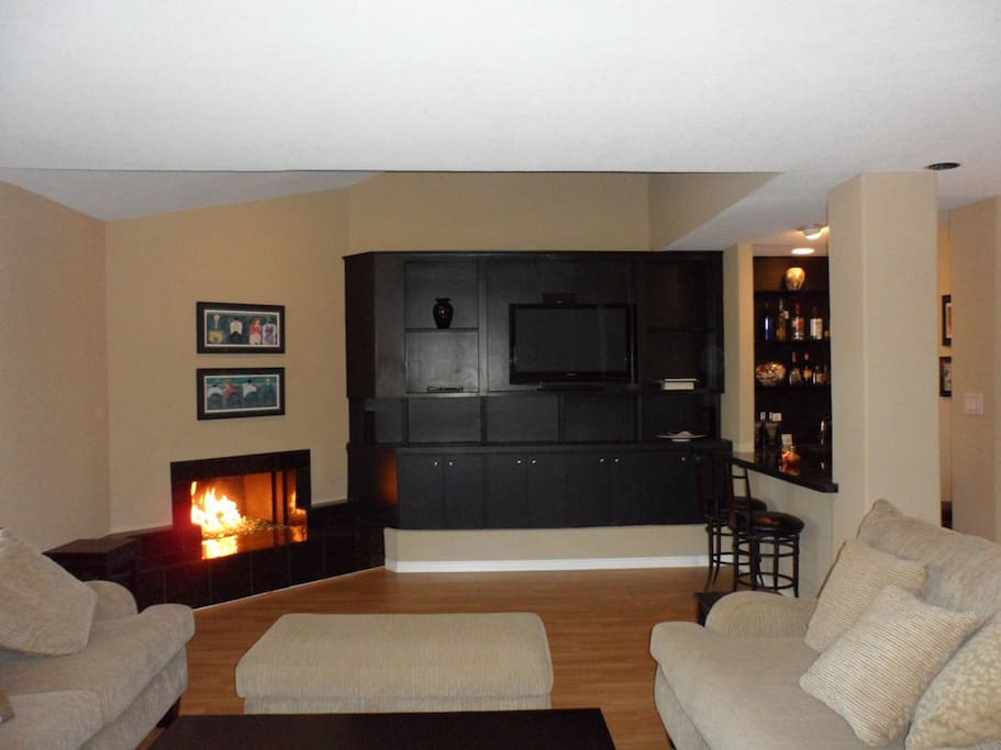 Large 'loft style' living room includes wet bar, tempered glass fireplace, large sofa and two loveseats.