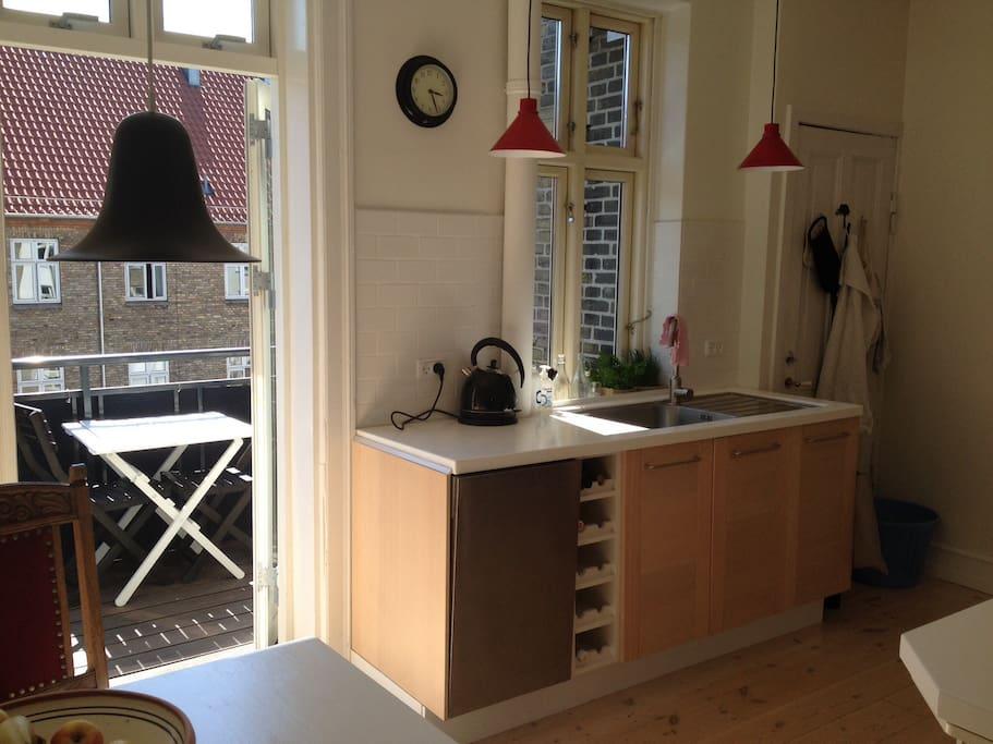 Kitchen facing the balcony