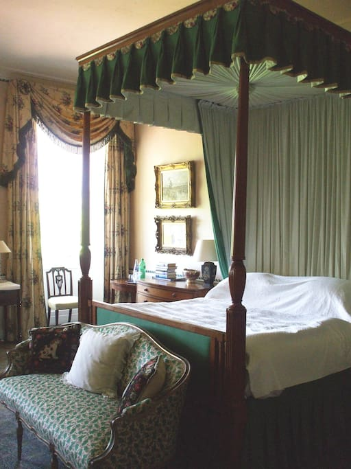 Carnock Room, with private external bathroom and 4 poster bed.