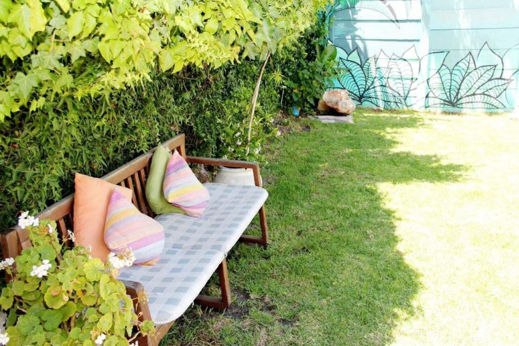 Bench in back garden for reading and relaxing