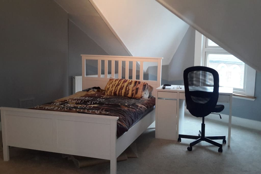 Double bed and study unit with chair