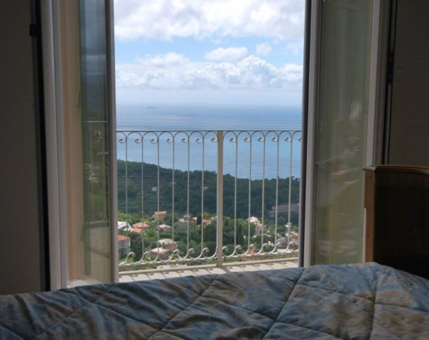 view from the master bedroom with door on the balcony