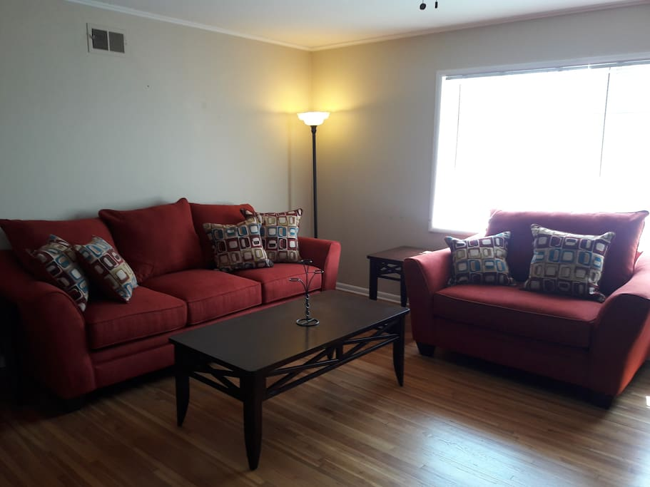 Living Room with Couch and Loveseat