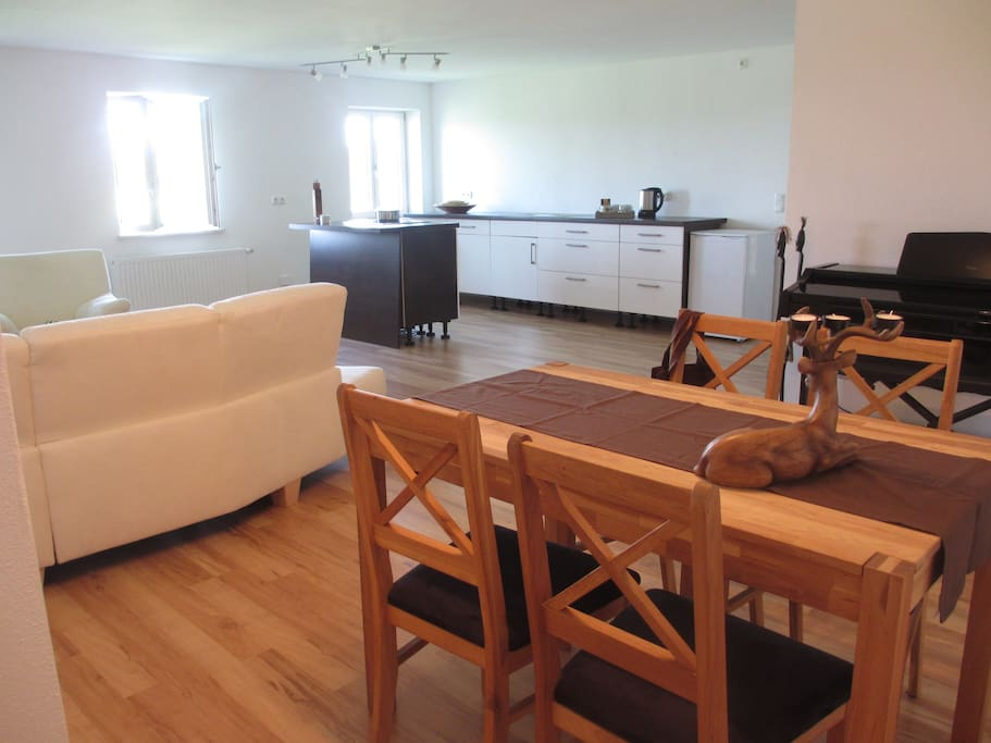view of the living area - table for 4, pull out Sofa, fully equiped kitchen and the piano - with partly lake view