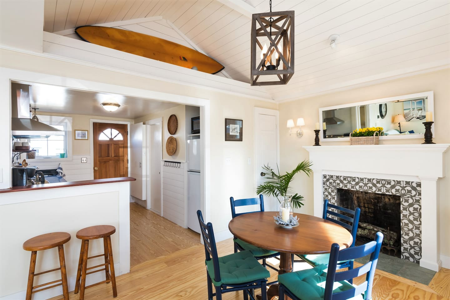This one bedroom cottage has an open concept living room, dining room, kitchen.