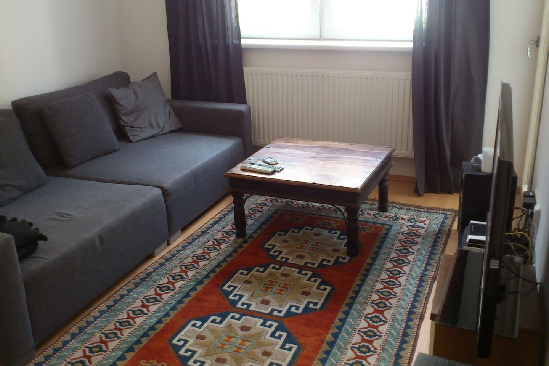 Wohnzimmer mit großer Couch, großem TV und Zugang zu kleinem Balkon