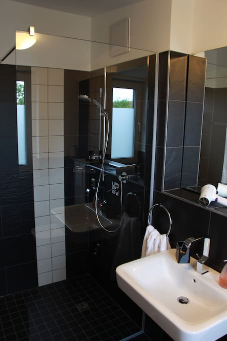 Fully enclosed  bathroom with shower, sink and toilet. Towels provided