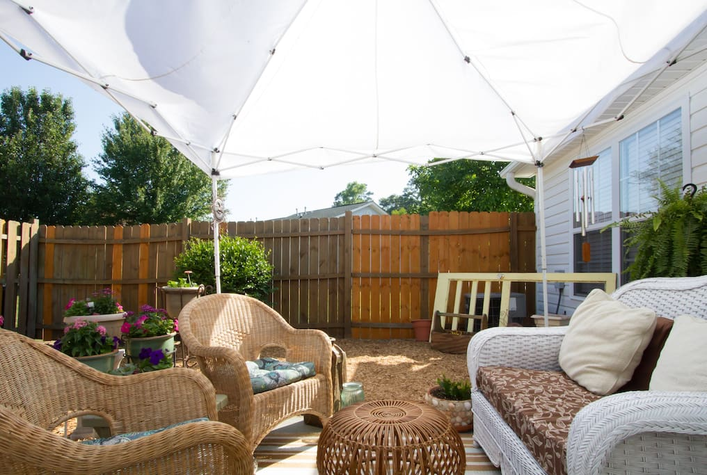 backyard patio; enjoy in the morning or in the evening on your return