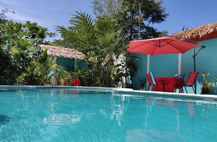 Poolside room in tropical garden getaway