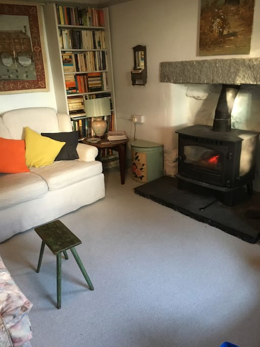 Warm living room with woodburner and smart tv
