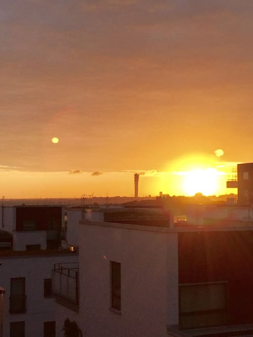 Foto from one of the balconies - Sunrise over Malmö