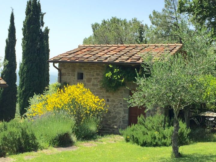 Small independent stone farmhouse with pool