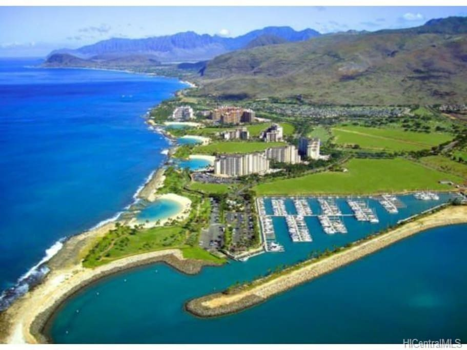 Air view of serene Ko'Olina Resort
