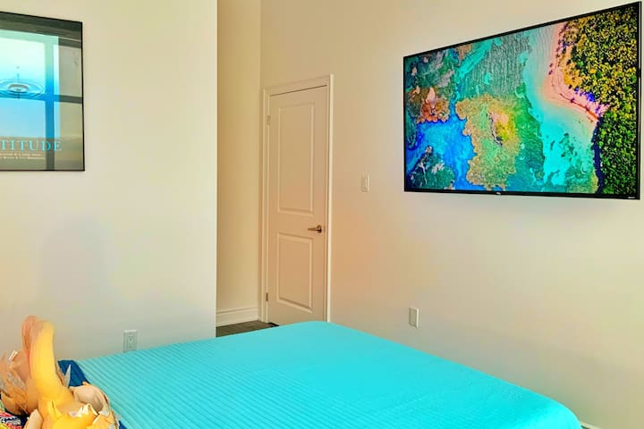 Master Bedroom with Lake view & 65 Inch 4K UHD  Smart TV