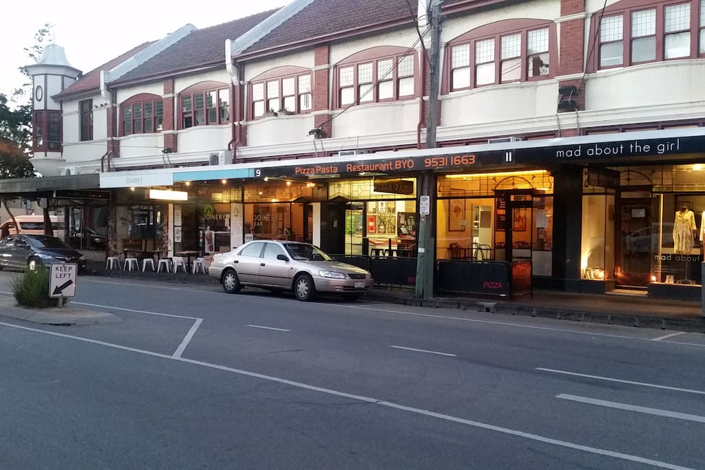the cafes etc. 200m from the front door
